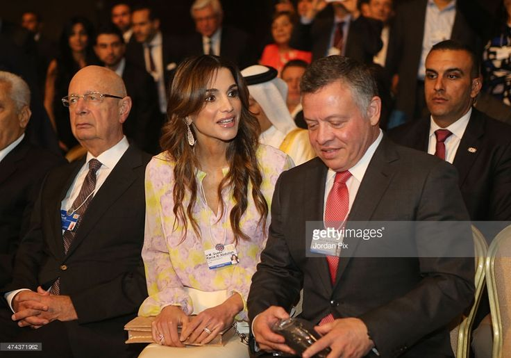 Klaus Schwab , Founder and Executive Chairman, World Economic Forum, Jordan's King Abdullah II Ibn Al Hussein and his wife Queen Rania are seen at the opening of the World Economic Forum on the Middle East and North Africa on May 22, 2015 at the Dead Sea, Jordan.