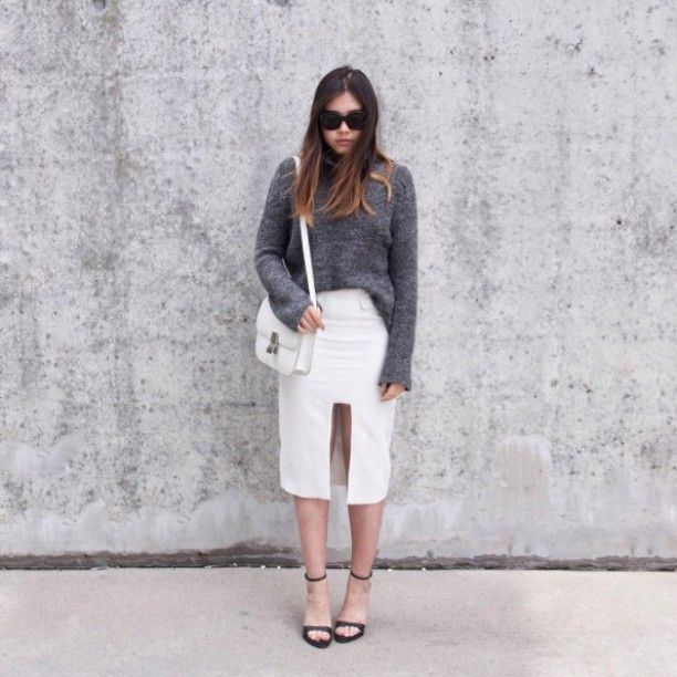 // SHOP NOW: LINK IN PROFILE // @chantal_li styles NEW @finderskeepersthelabel // featured above: Shapeshifter Skirt // http://bit.ly/1iy1Hmn #BNKR #finderskeepersthelabel #BNKRstyle #grey #white #cutout #outfit #streetstyle