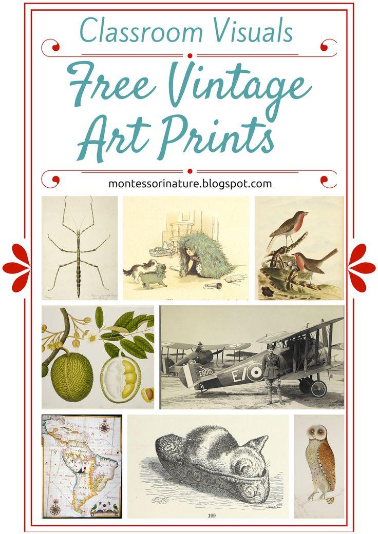 Free Vintage Art Prints - Classroom Visuals. KLP Linky Party