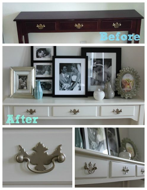 """I've been on the hunt for a perfect cheap console table for my living room. I found this gem at an antique shop and haggled it down to $25. Just a quick sand with some medium grit sand paper, and a couple of coats of my fave """"Heirloom White"""" by American Accentsdid the trick!This little …"""