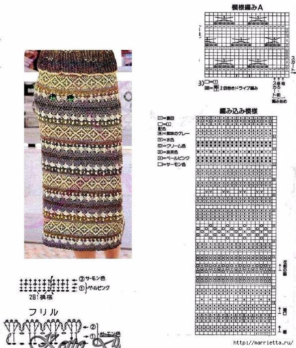 Жаккард крючком. Схемы вязания стильной юбки (2) (595x700, 318Kb)