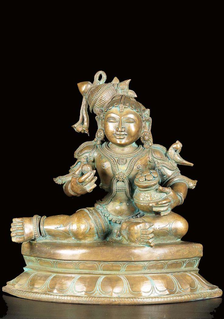 "Bronze Butter Bala Krishna Statue 14"""