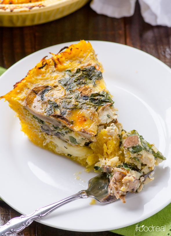 Healthy and gluten free spaghetti squash quiche with kale, mushrooms and extra egg whites and cottage cheese for a protein boost.