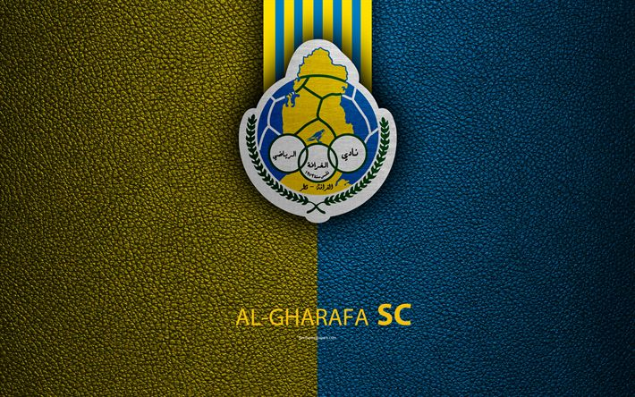 Download wallpapers Al-Gharafa SC, 4k, Qatar football club, yellow blue leather texture, Al-Gharafa logo, Qatar Stars League, Doha, Qatar, Premier League, Q-League