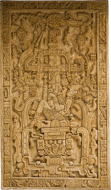 Pakal Sarcophagus Lid, depiction of King Pakal (603-683 CE) in the jaws of the underworld, symbolic of his death and journey into the underworld and resurrection with the Maize God. Temple of the Inscriptions, Palenque, Mexico. Maya, Late Classic Period.