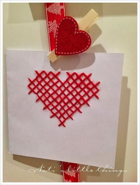 Heart cross stitch card, great for Valentine's