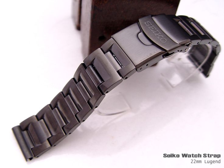 SEIKO 22mm BLACK ANODIZED SS DOUBLE LOCK CLASP STRAIGHT END