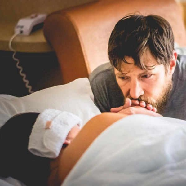 "<p>""He never left my side....I was so lucky to have an amazing support group throughout my labor. My husband, my sister, my Doula and my OB. Head to my YouTube channel to see more intimate pics of my labor. Link in bio.""</p>"