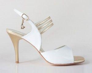 Chaussures de tango femmes marque Turquoise shoes - Modèle M23 White Gold