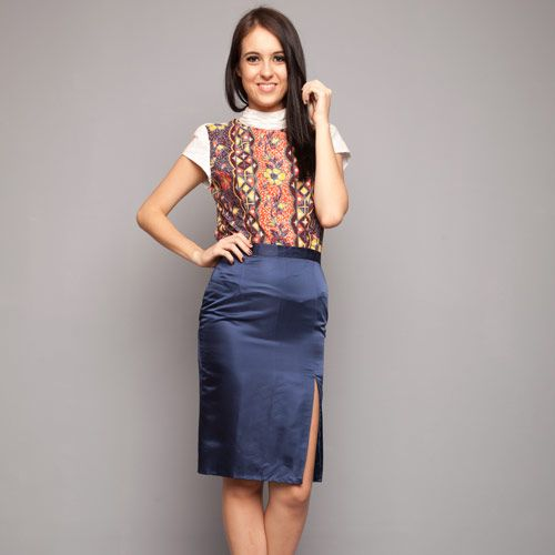 Dark Blue Taffeta Pencil Skirt