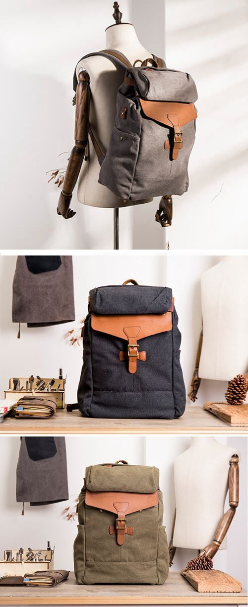 8a15cf76e8a4 BLACK VINTAGE TRAVEL BACKPACK