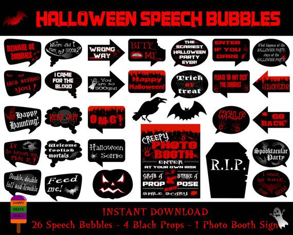 Hallooween Speech Bubbles–31 Pieces (26 Speech Bubbles,4 Props,1 Photo Booth Sign)-Printable Halloween Photo Booth Props-Instant Download