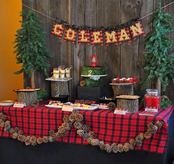 Seen on KARA'S PARTY IDEAS - Lumberjack Party Set - DoubleSided Invitation, Signs, Thank You Card, Buffet Labels, Syrup Wraps, Label Design on Etsy, $40.00