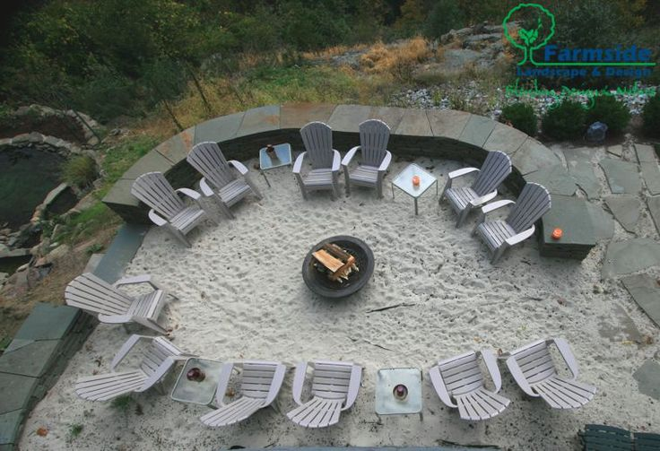Beach style area with creative placement of an outdoor fire pit idea from Farmside Landscape & Design!