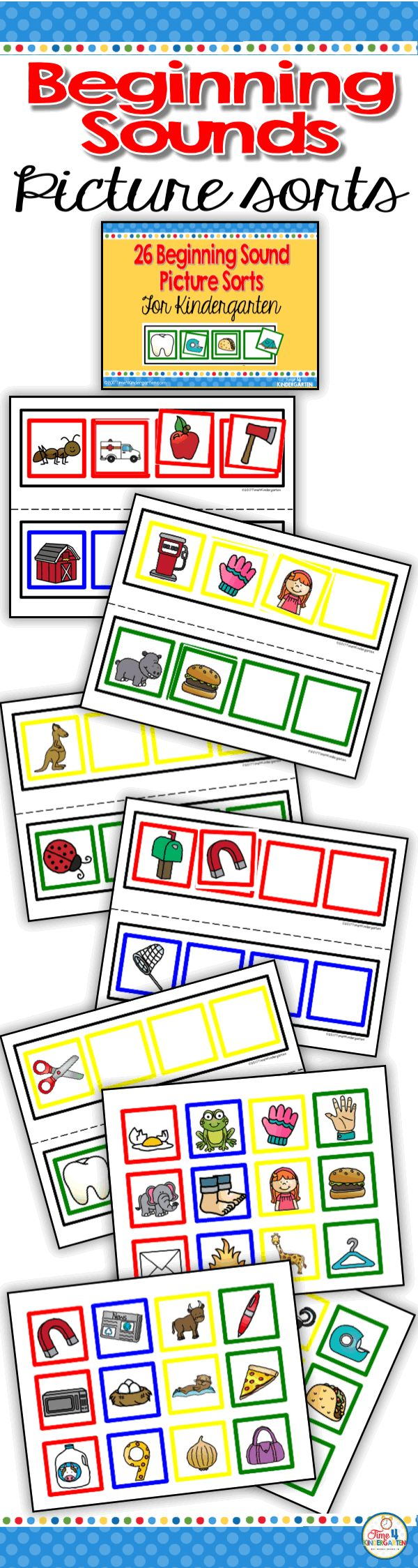 First Sound Picture Sort- initial sound recognition for kindergarten. Add this to your literacy center to help students understand the concept of first sounds.