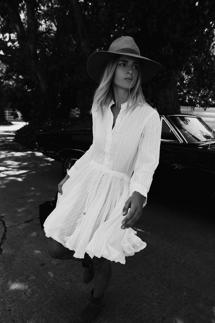 Janessa Leone hat, Zadig et Voltaire dress and bag, Isabel Marant boots. Via Mija