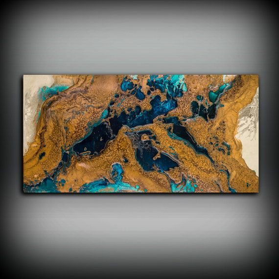Giclee Abstract Fine Art Print from Original Acrylic Abstract Painting 8 x 16 - 48 x 96 / Copper Wall Art Gift for Men Office Wall Art