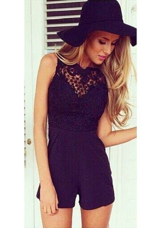 Black Patchwork Lace Hollow-out Blackless Short Jumpsuit - Jumpsuit Pants - Bottoms