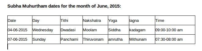 Subha Muhurtham month of June