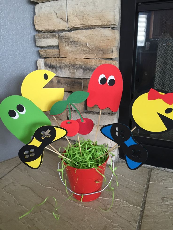 Retro Pac Man Centerpiece Picks, Pac Man Party, Video Game, Arcade Party, 80s Party by MommysCustomCreation on Etsy