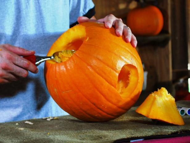 """Find step-by-step instructions and video from DIYNetwork.com on how to create a """"hungry"""" pumpkin for Halloween."""