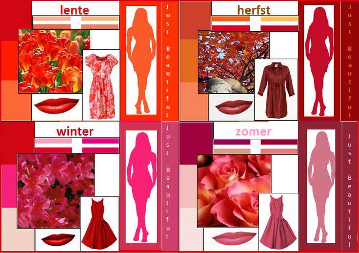 rood in de vier seizoenen