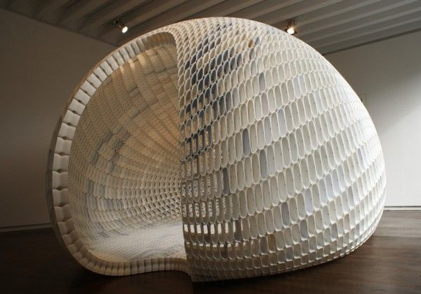 sculpture, architecture, pod, egg, perforation, light