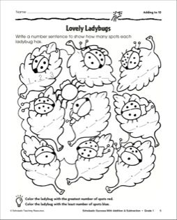 Adding to Ten-Ladybugs: Math Practice Page
