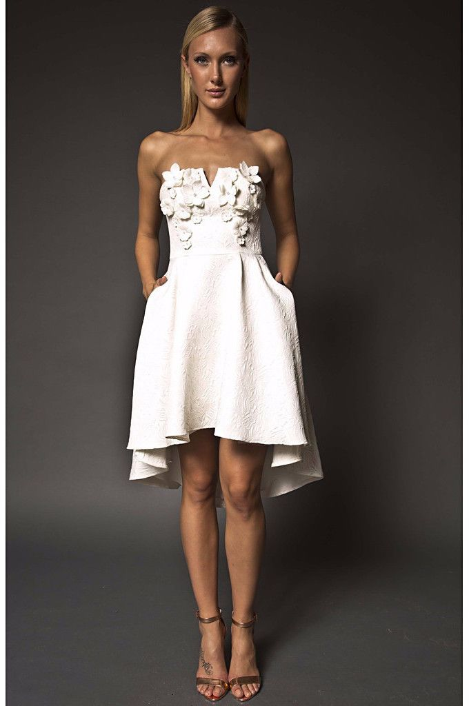 White embellished strapless high low dress you will feel for Dresses for wedding rehearsal dinner