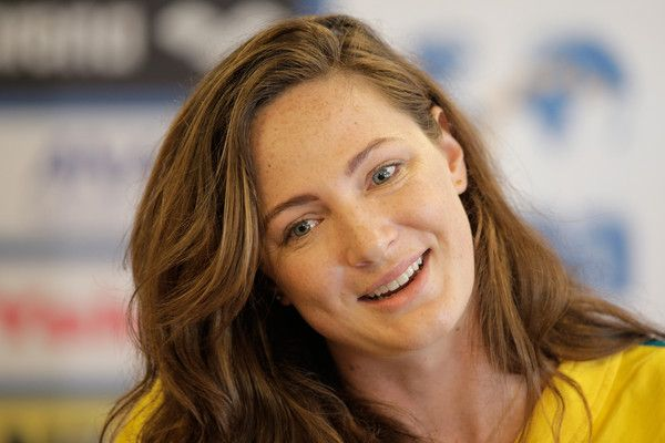 Cate Campbell Photos Photos - Cate Campbell attends an Australian Swim Team press conference on day six of the 16th FINA World Championships at the Aquatics Palace on July 30, 2015 in Kazan, Russia. - Australian Swim Team Press Conference - 16th FINA World Championships: Day Six