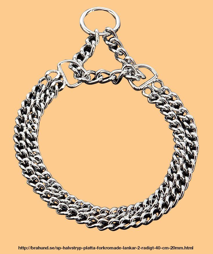 SP Halvstryp, platta förkromade länkar, 2-radigt 40 cm, 2.0mm. Fabrikat Sprenger, Tyskland. 2-radigt halvstryp halsband som uppskattas av många eftersom de är lätta att sätta på och ta av. De korta platta förkromade länkarna glider enkel igenom ringen.
