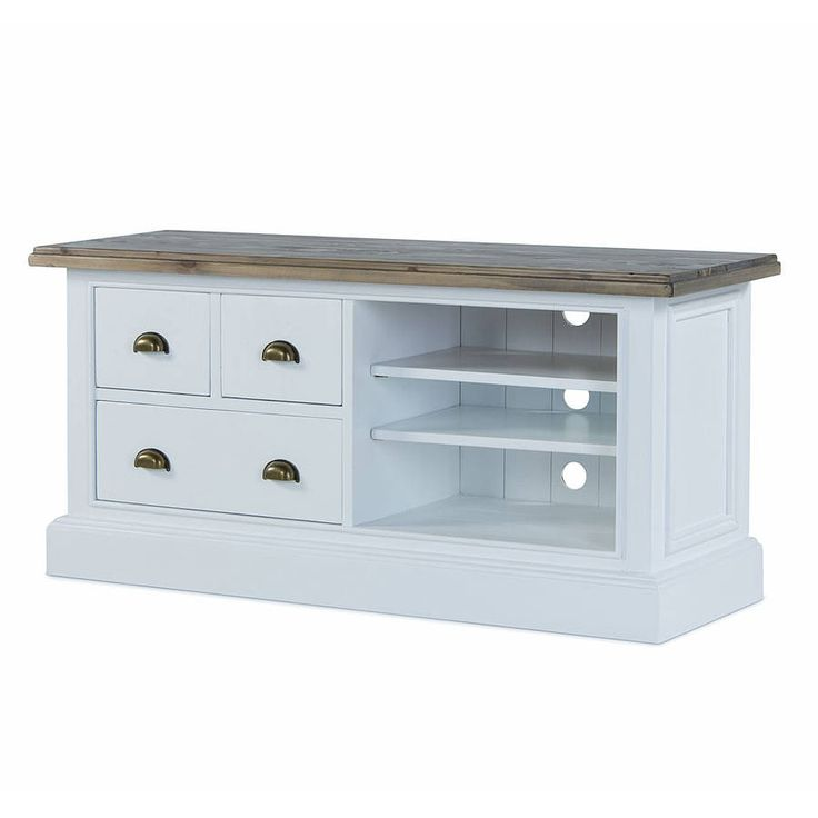 french country three drawer tv unit by the orchard furniture   notonthehighstreet.com