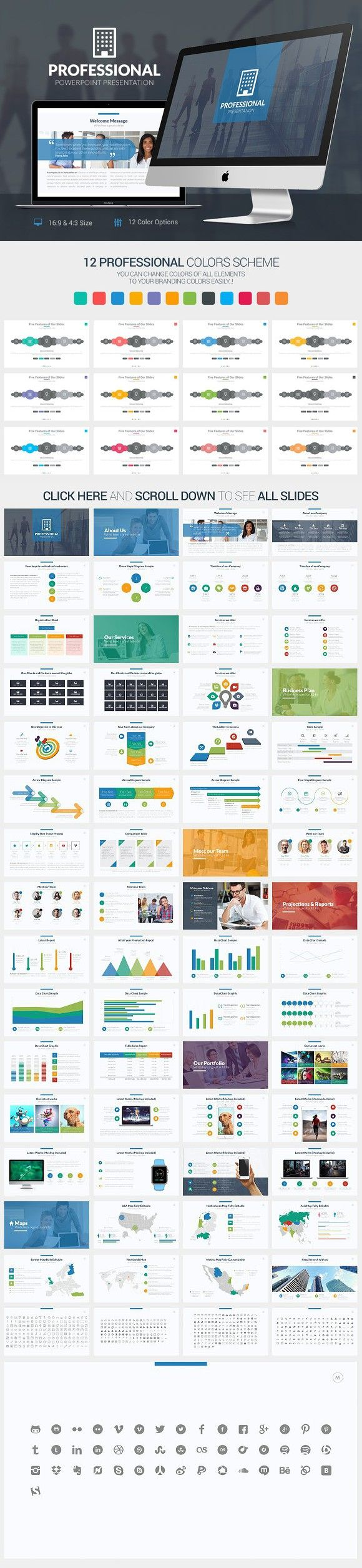 Professional Powerpoint Template. Business Infographic. $20.00