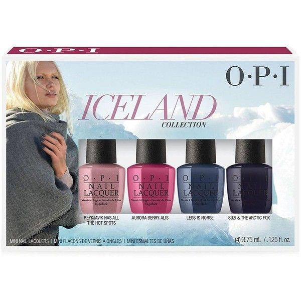 Opi Opi Iceland 4 Piece Mini Nail Varnish Gift Set (66 SAR) ❤ liked on Polyvore featuring beauty products, gift sets & kits and opi