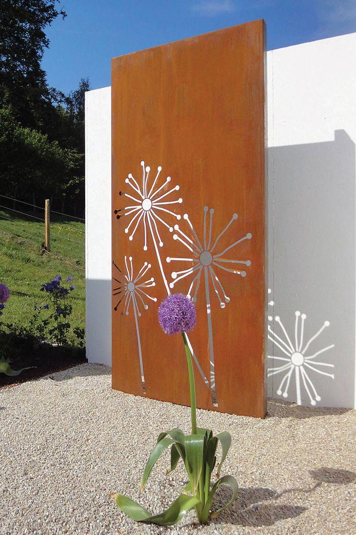 Paras Sichtschutzwand Cortenstahl Motiv Pusteblume Planter