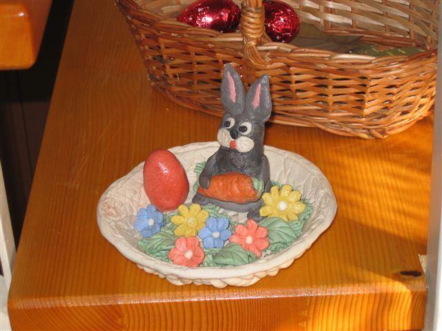 salt, flour and water / Easter  bunny and flowers in the basket