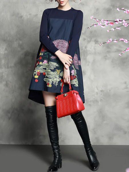 Embroidery Knitting Midi Dress