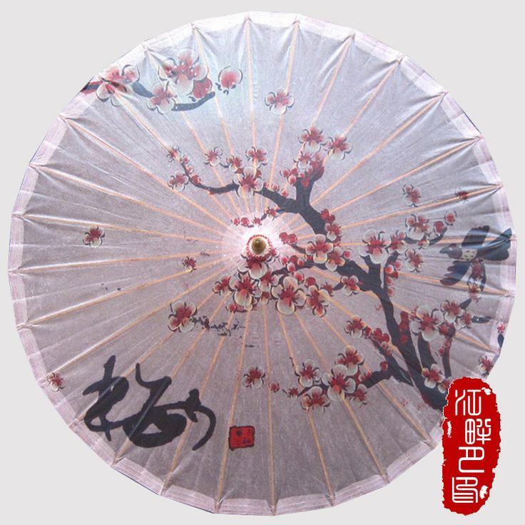 Cosplay Red Plum Blossom Paper Umbrella Chinese Handmade Oil Paper Umbrella Sunshade Parasol Decoration Gift Dance Umbrella