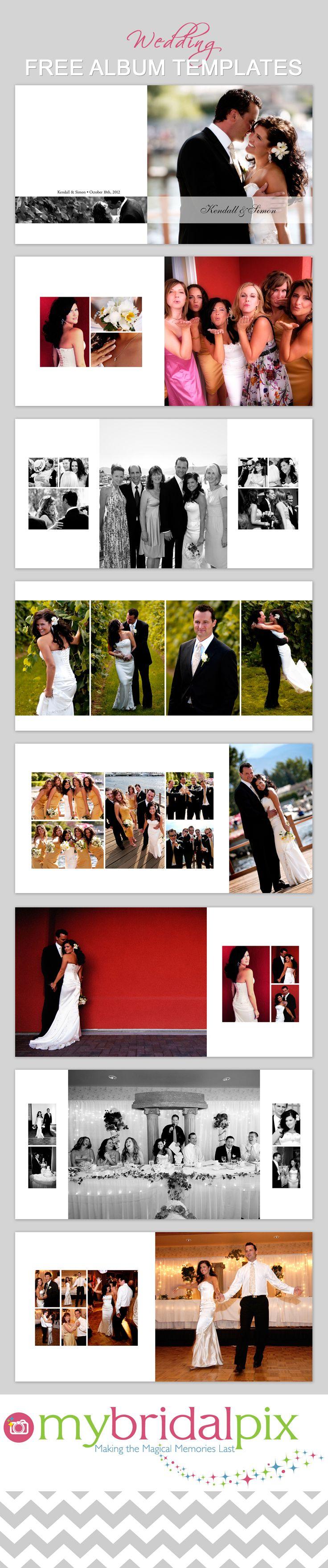 nice layouts; Free wedding album templates at www.mybridalpix.com. /  wedding album photobook template