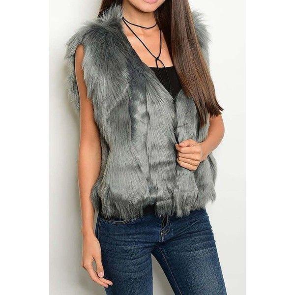 Faux Fur Vest + Colors ) ($40) ❤ liked on Polyvore featuring outerwear, vests, faux fur waistcoat, vest waistcoat, fake fur vest, open front vest and faux fur vests