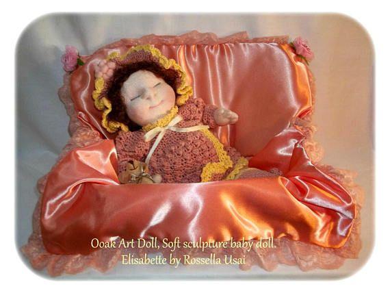 Ooak Art Doll Soft sculpture baby doll Handmade Fabric Doll