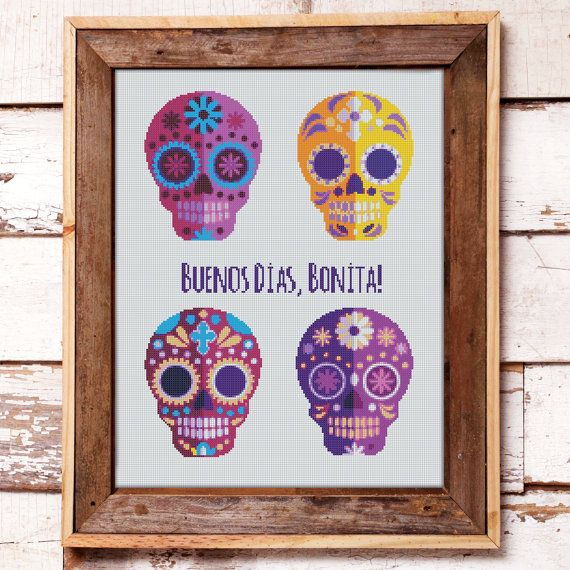 Cross Stitch Pattern Mexican Halloween Sugar Skulls // Instant PDF Download