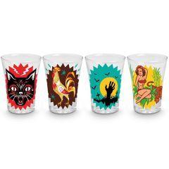 Copo de Tequila Clássicos do Boteco 4 peças - Vaca Design  Conjunto de copos para aperitivo, perfeitos para animar a sua festa. Com o tema das bebidas de botecos mais famosas do nosso país.