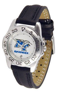 Middle Tennessee State Blue Raiders (MTSU) Suntime Ladies Sports Watch w/ Leather Band by Sun Time/Links Warner. $41.95. The Lady's Sport AnoChrome Watch is a step up in the Lady's Sport series. The anochrome dial option increases the visual impact with a stunning radial reflection similar to that of the shiny underside of a music CD. A date calendar plus a rotating bezel/timer circles the scratch resistant crystal. Sport your team's bold, colorful, high quality ...