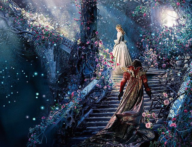 He follows her ghost up a set of stairs, overgrown with roses, to a hidden bed chamber.