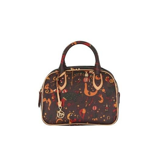 PIERO GUIDI MAGIC CIRCUS DARK BROWN BAG 216P74088 Small Dark Brown satchel in Magic Circus embossed fabric, metal finishings, genuine leather trimmings, double handles, internal Multiangel lining with pocket and mobile holder, zipper fastening. Size: 24x18.5x11.5cm #pieroguidi #handbag #bags