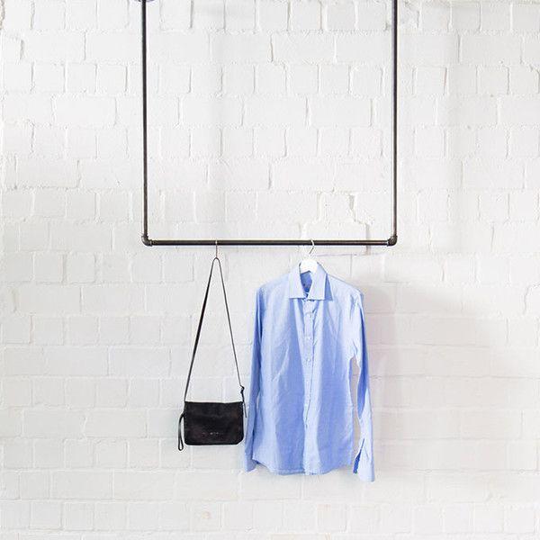 Fresh Freischwebende Kleiderstange von der Decke Stahl Kleiderschr nke