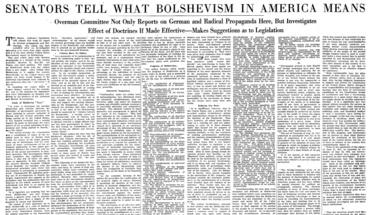 """Senators Tell What Bolshevism in America Means."