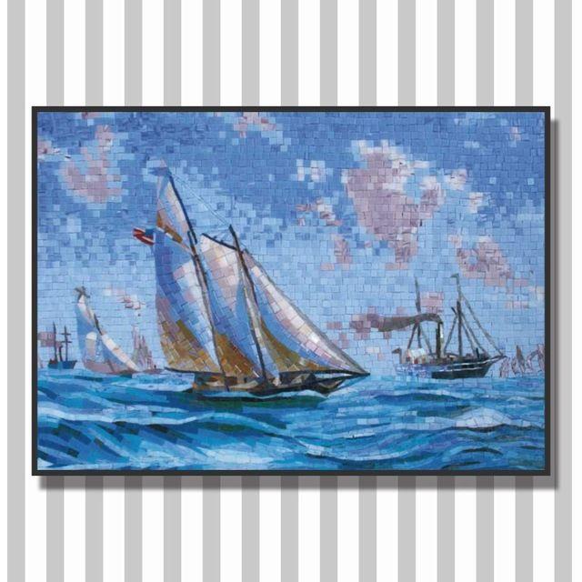 Ljo jy-jh-sh02 barca a vela sul mare bagno backsplash piastrelle di vetro modelli mosaico murale piastrelle fatte a mano decorazione murale artista artwoks- in Mosaico da Costruzioni e immobili su m.italian.alibaba.com.
