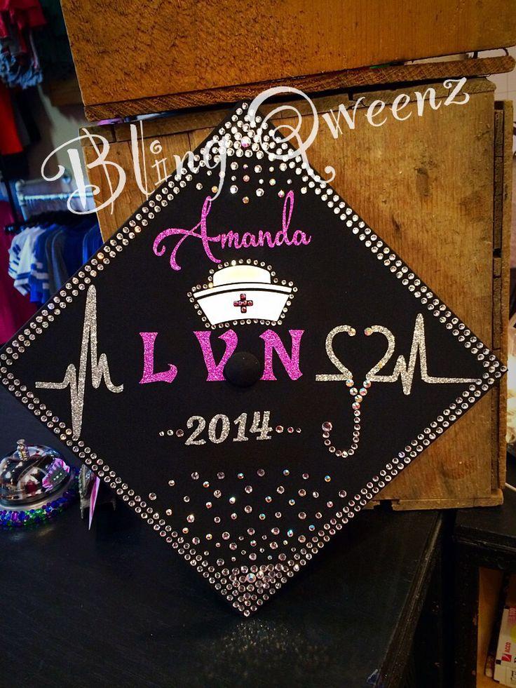 Nurse LVN Graduation Cap by BLING QWEENZ   www.BLINGQWEENZ.com